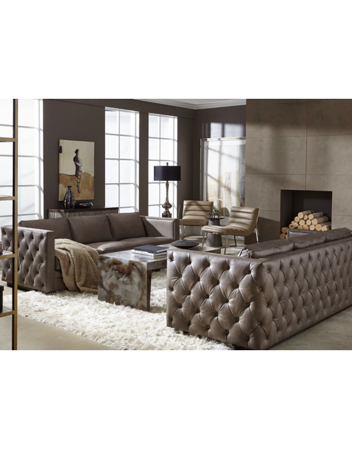 Great Home / SHOP / Sofas / Hooker Furniture Lexie Stationary Sofa Leather Brown  Contemporary/Modern