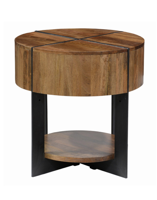 Classic home desmond round end table medium brown for Classic home tables