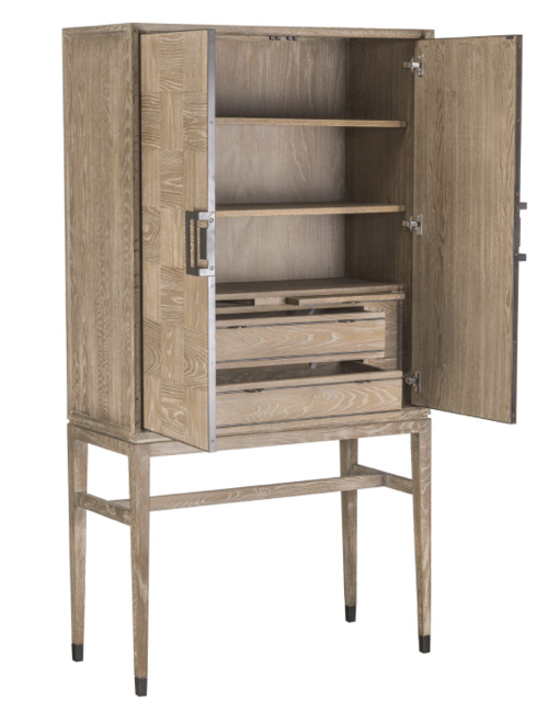 Classic Home Truman Bar Cabinet Natural Oak Wood Modern Contemporary Arte Fina Furniture